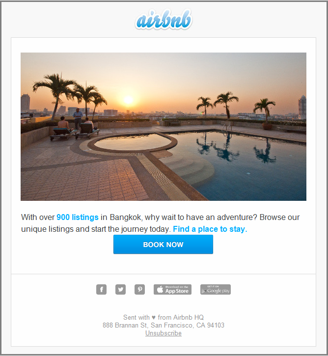 email templates design- airbnb