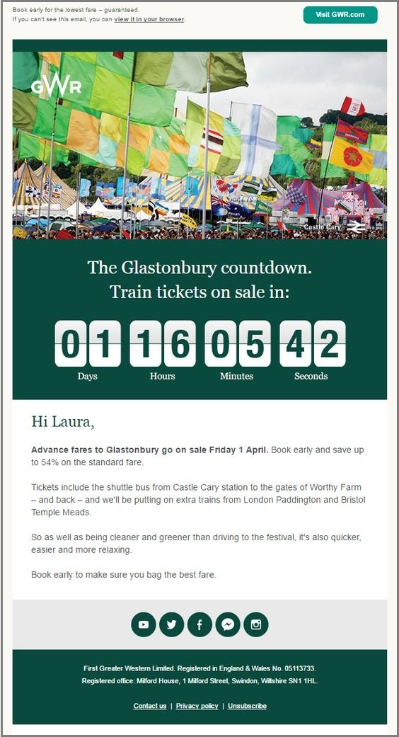 email templates design- GWR coundown